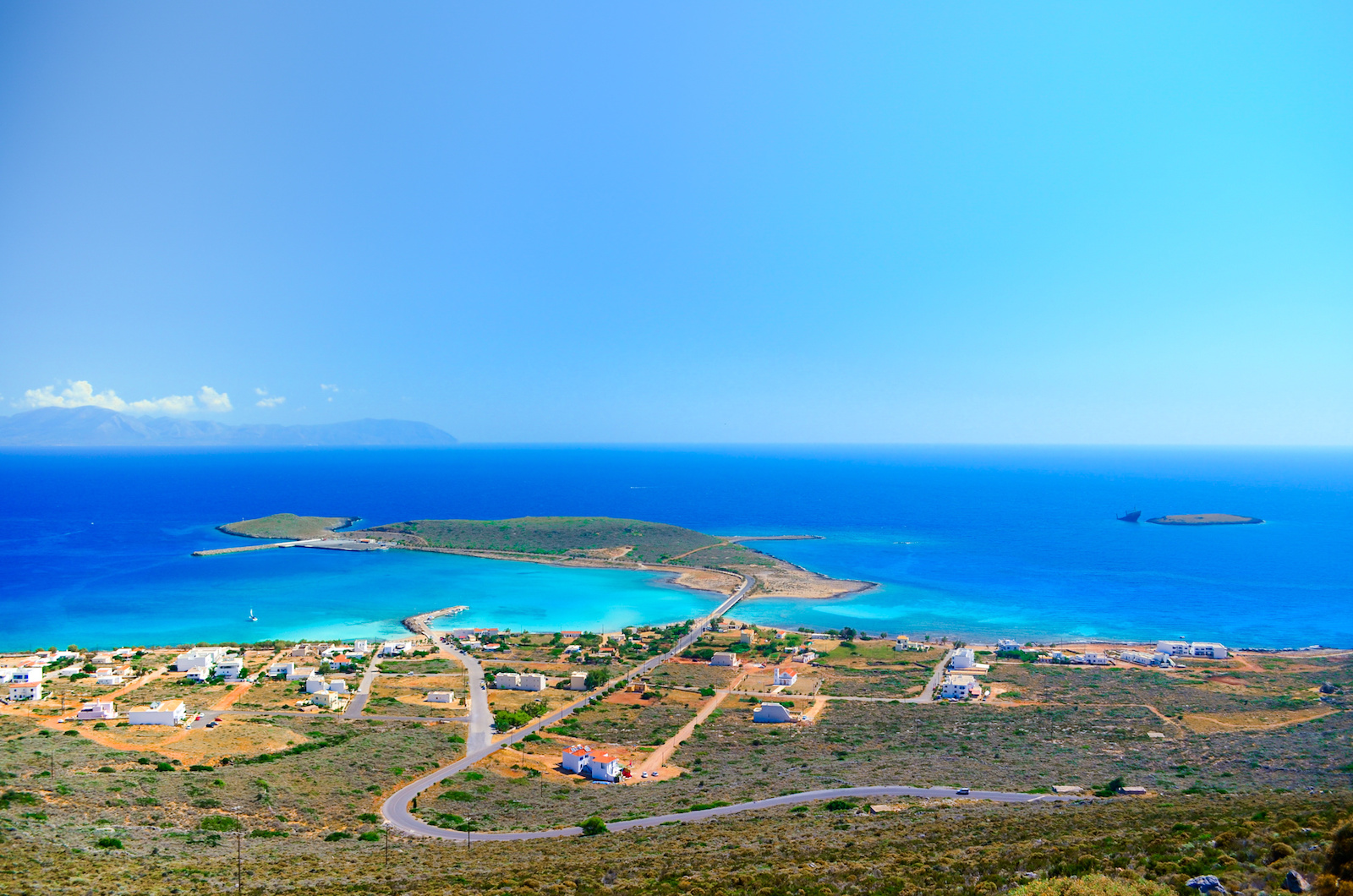 "Panoramic view of the port of Kythera with the the ship wreck ""Nordland"", Diakofti Kythera"